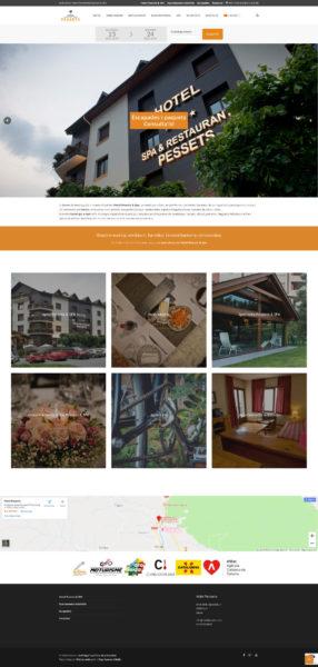 Captura de pantalla de la web de l'Hotel Pessets